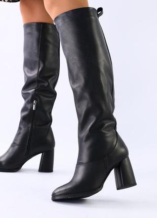 Lux обувь! натуральные кожаные зимние высокие сапоги на каблуке