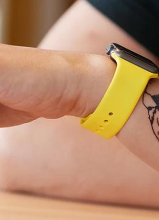 Яркий желтый браслет ремешок силиконовый для apple watch 42 мм...