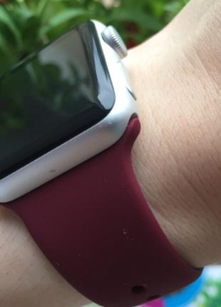 Силиконовый ремешок для часов apple watch , винный wine