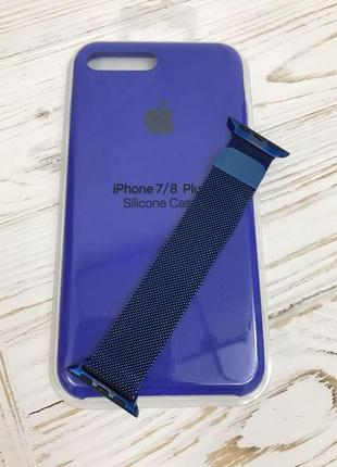 Набор чехол iphone 7plus / 8plus ремешок apple watch 38/40мм