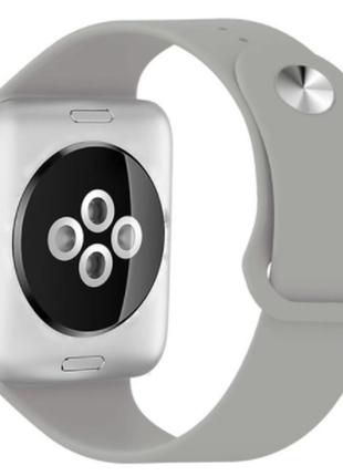 Браслет ремешок силиконовый для apple watch 38 mm. серый
