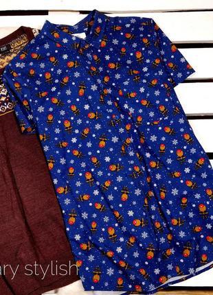Мужская рубашка новогодняя новый год принт олени !!!новогодняя...