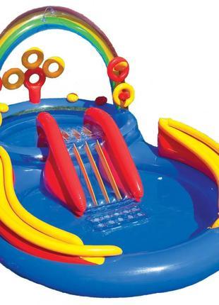 Детский надувной игровой центр радуга 57453 с горкой