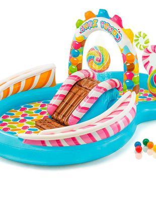 Детский надувной игровой центр с бассейном 57149 и горкой