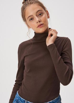 Новая облегающая коричневая кофта лонгслив темно-коричневая бл...