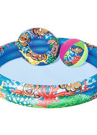 Детский надувной бассейн BW 51124 с мячом и кругом