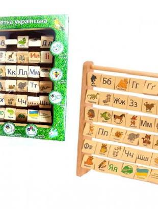 Азбука (Нуш) Набор из 36 деревянных кубиков с буквами украинск...