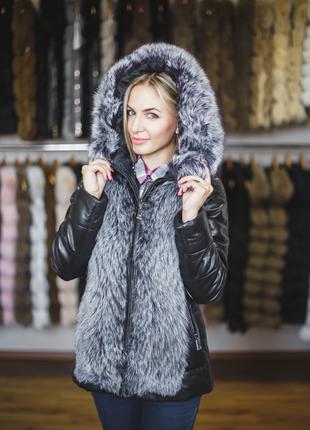 Шубка-куртка из чернобурки с кожаными рукавами, куртка с мехом...