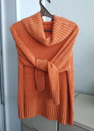 Велюровый плюшевый свитер гольф большого размера
