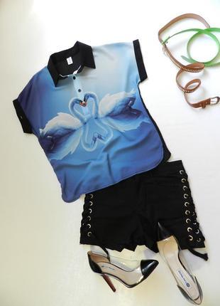 ✅ красивенная шифоновая блуза с 3 д рисунком лебеди сердечко