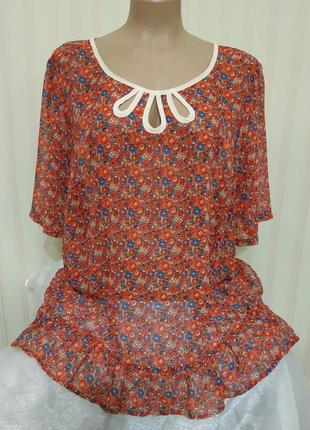 Новая воздушная шифоновая блузка в цветы большого размера