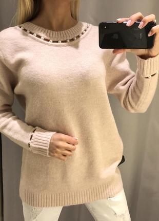 Шикарный тёплый свитер свитерок с жемчугом. reserved. размеры ...