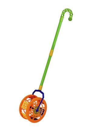 Детская каталка-колесо 777-8 длина ручки-43см (Оранжевый)