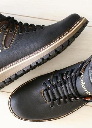 Lux обувь! крепкие тёплые кожаные зимние ботинки сапоги на мех...