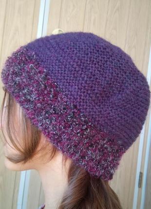 Симпатичная вязаная фиолетовая шапка бини шапочка берет