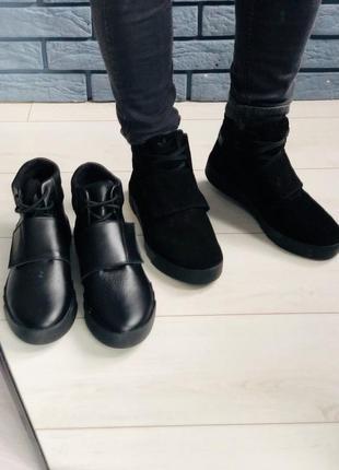 Lux обувь! кожаные стильные замшевые зимние ботинки мужские