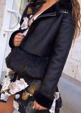 Женская зимние кожаная куртка, очень тёплая, всё размеры!!