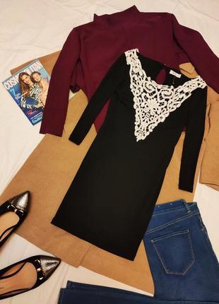 Платье кружевное чёрное белое трикотажное свободное оверсайз к...