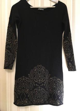 Красивое вязаное платье/черное с золотым /шерстяное
