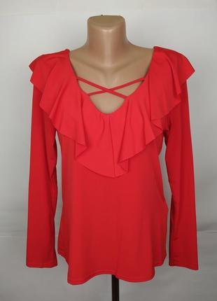 Красная шикарная блуза new look uk 12/40/m