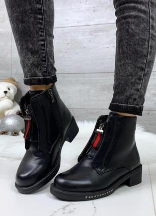Зимние ботинки с молниями,стильные зимние ботинки на низком ходу