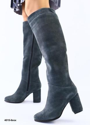 Lux обувь! натуральные замшевые высокие сапоги на удобном каблуке