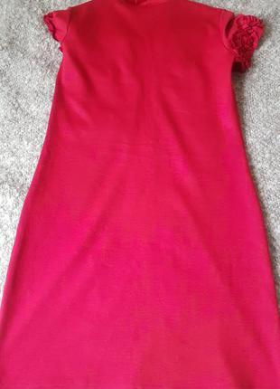 Платье трикотажное мини красное