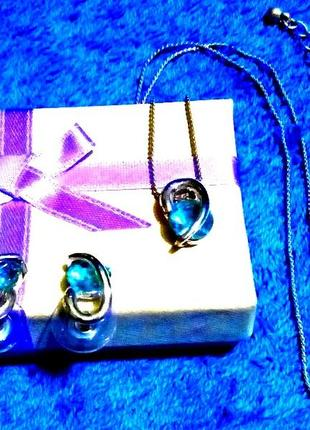 Ожерелье и серьги под серебро💗камни цвета голубых сапфиров💗набор