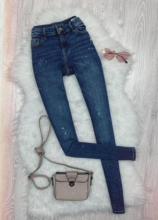 🌿 синие базовые джинсы скинни zara
