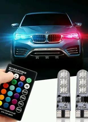 Автомобильные лампы RGB LED T10 W5W с пультом
