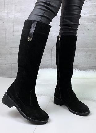 Зимние замшевые сапоги на низком каблуке,зимние сапоги из нату...