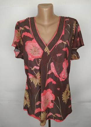 Шелковая блуза оригинальная в цветы monsoon uk 18/46/xxl