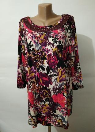Блуза вискозная кружевная трикотажная в цветочный принт большо...