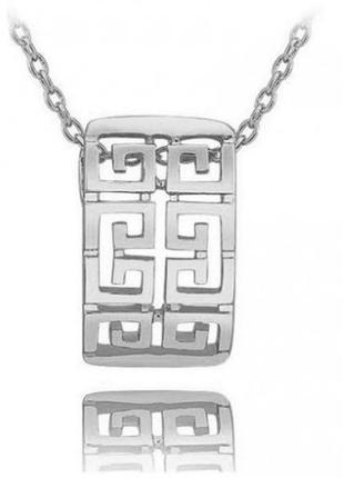 🏵позолоченная подвеска на цепи кулон с греческим орнаментом, н...