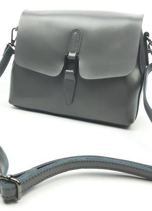 Женская сумка galanty серая из натуральной кожи