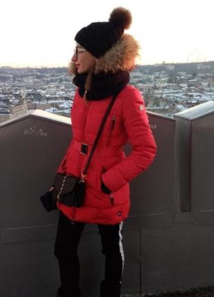 Пуховик плащ пальто на пуху snowimage натуральный пух и мех енот