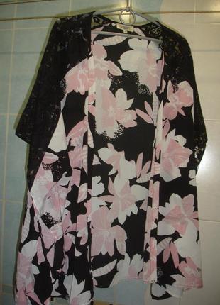 Туника пляжная черная кружевная размер 50 /16 на пляж розовая