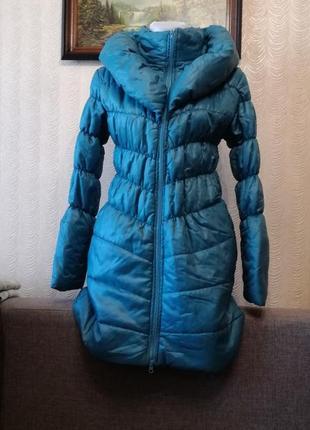 Пальто на синтепоне размер м цвета морской волны стеганое пальто