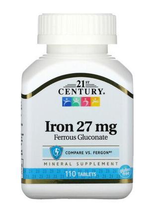 Железо 27 mg 110 таблеток 21 st century. новая уп.