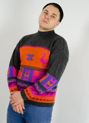 Винтажный шерстяной свитер с высоким горлом, новогодний джемпе...