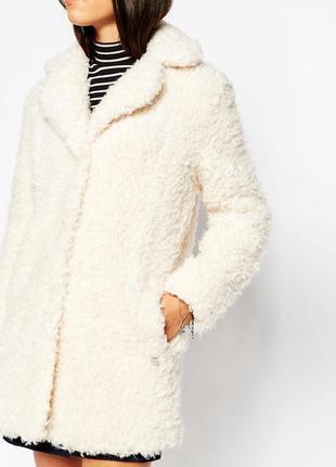 Пушистое пальто барашек/ мохнатая шуба/ белая шубка от george ...