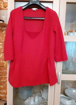 Роскошный фактурный блузон с квадратным вырезом большого размера