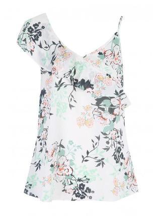 Новая блуза топ с оборкой и принтом цветы