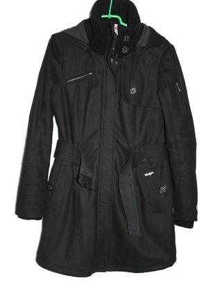 Пальто утёпленное капюшон пояс шерсть  khujo