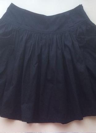 Черная юбка-клеш из натуральной ткани, размер 40-44
