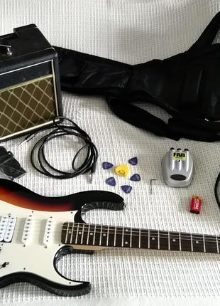 Гитарный набор Электрогитара + комбик + педаль шнуры FAB VOX Park