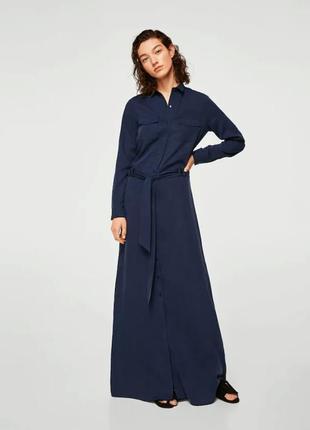 Длинное платье-рубашка mango