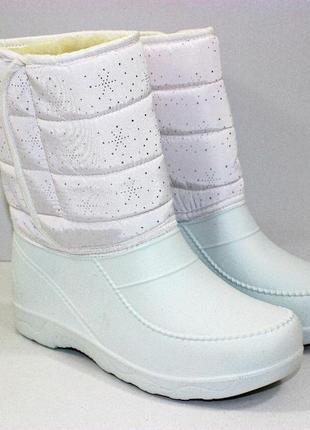 Женские зимние белые сапоги дутики сноубутсы со снежинками из ...