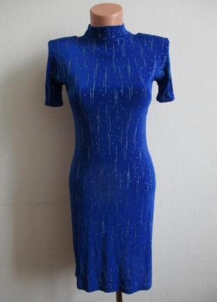 Нарядное блестящее трикотажное платье с блестками