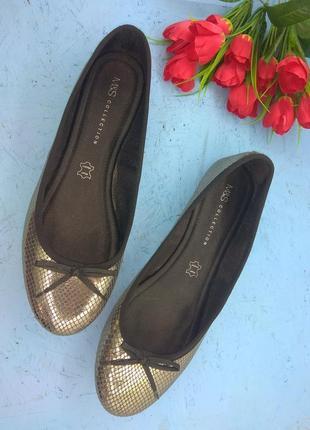 Кожаные туфли балетки marks & spenser р 41,5-42 сост новых